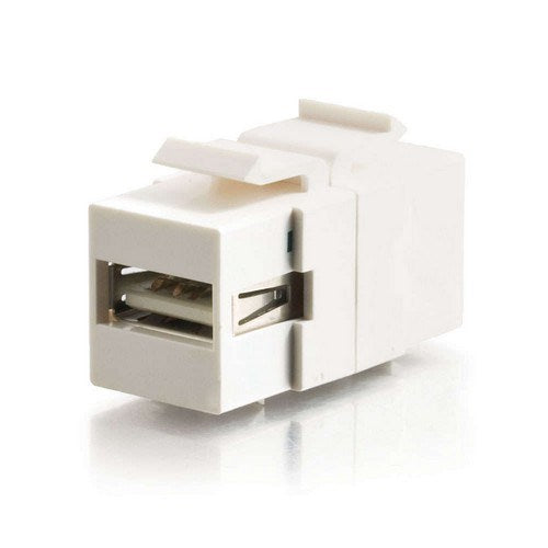 SNAP-IN USB A (F) FEMALE TO USB B (F) FEMALE KEYSTONE INSERT MODULE - WHITE