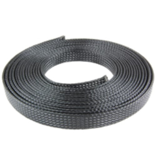 "1"" DIAMETER NO FRAY BRAIDED POLYESTER EXPANDABLE SLEEVING, FLAME RETARDANT, 50 FT. [BLACK]"