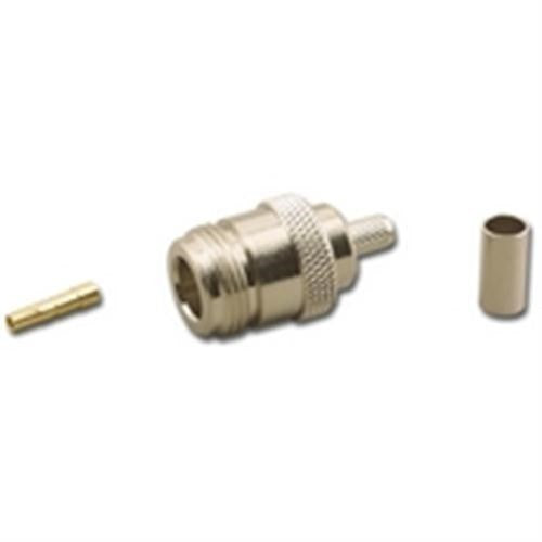 N-TYPE (F) FEMALE 3-PIECE DUAL CRIMP CONNECTOR FOR RG-58/U 50 OHM COAX