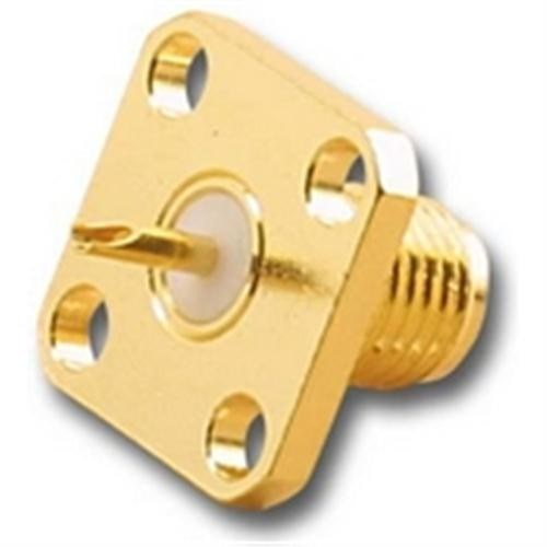 SMA (F) FEMALE PANEL MOUNT SOLDER CONNECTOR WITH 4-HOLE SQUARE MOUNTING FLANGE FOR 50 OHM COAX