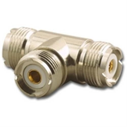 "3-WAY ""T"" ADAPTER, UHF (F) FEMALE TO UHF (F) FEMALE TO UHF (F) FEMALE"