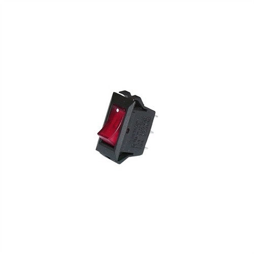 "LIGHTED STANDARD SIZE ROCKER SWITCH, SPST, ON-OFF, .250"" QUICK CONNECT TERMINALS [RED]"
