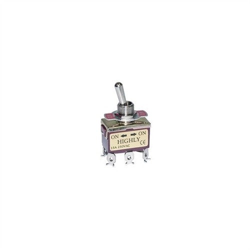 STANDARD SIZE TOGGLE SWITCH, DPDT, ON-OFF-ON, SCREW TERMINALS [METAL]