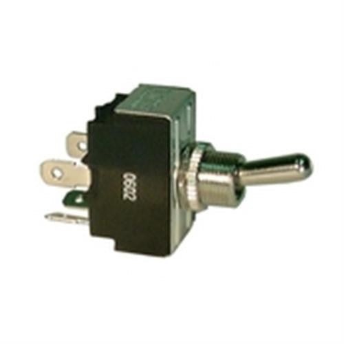 "SEALED HEAVY DUTY BAT HANDLE TOGGLE SWITCH, SPST, ON-OFF, .250"" QUICK CONNECT TERMINALS [METAL]"
