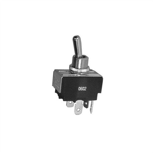 "SEALED HEAVY DUTY BAT HANDLE TOGGLE SWITCH, DPST, ON-OFF, .250"" QUICK CONNECT TERMINALS [METAL]"