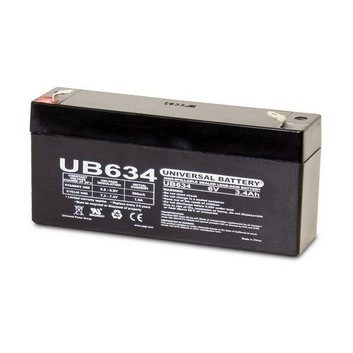UB634 6V 3.4AH F1 AGM SEALED LEAD-ACID (SLA) BATTERY