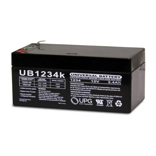 UB1234 12V 3.4AH F1 AGM SEALED LEAD-ACID (SLA) BATTERY