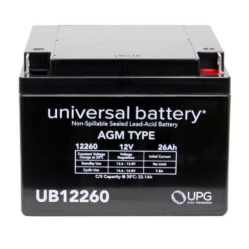 UB12260 12V 26AH T3 AGM SEALED LEAD-ACID (SLA) BATTERY
