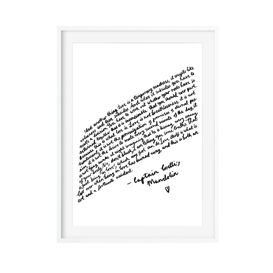 Captain Corelli's Mandolin Quote Art Print - Poppins & Co.