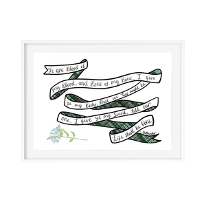 Scottish Wedding Vow Print Outlander Print - Poppins & Co.