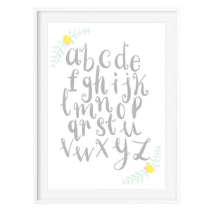 Grey Floral ABC Art Print - Poppins & Co.
