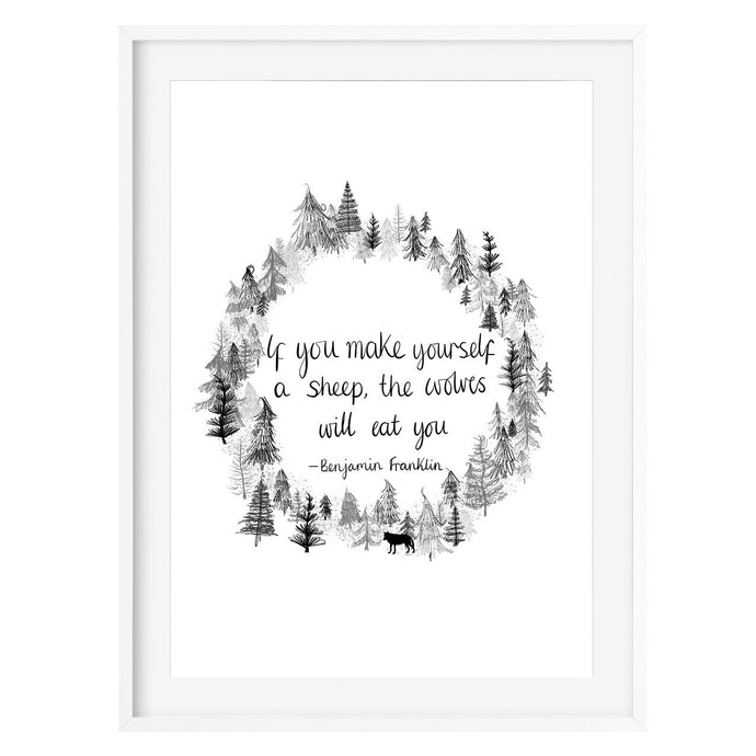 Benjamin Franklin Print Wolf Quote - Poppins & Co.