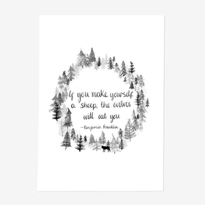 Benjamin Franklin Wolf Quote Print