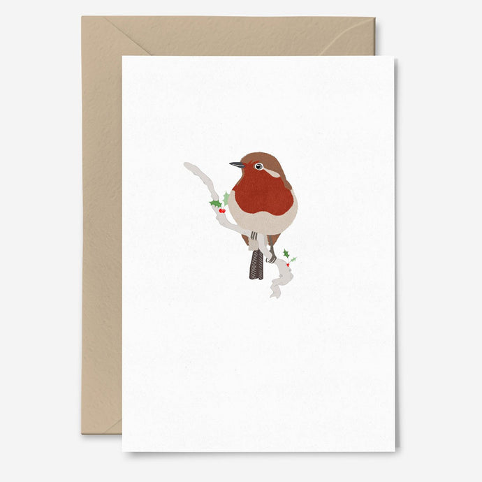 Elegant Robin Christmas Card - Poppins & Co.