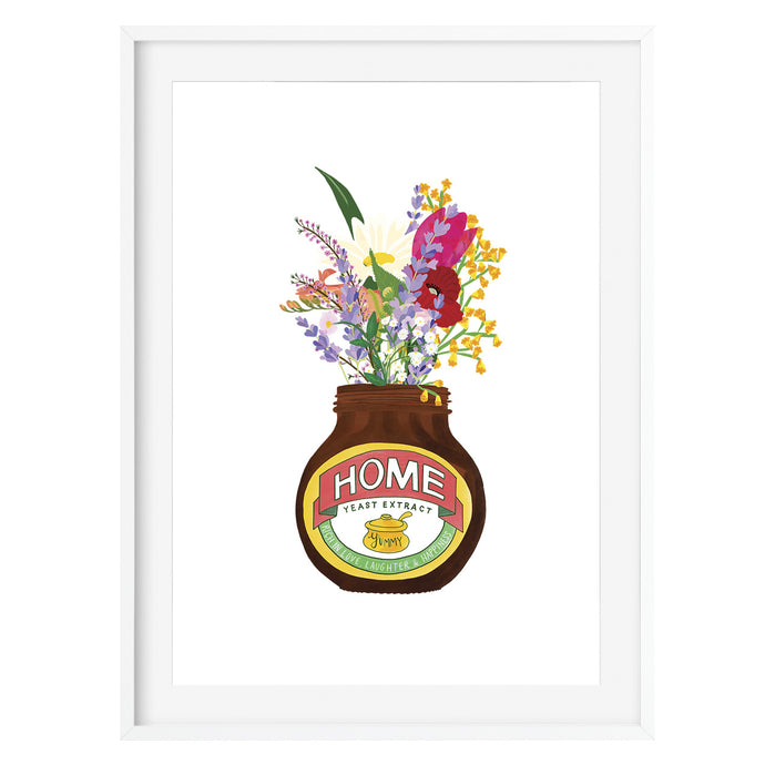 Home Yeast Extract Jar & Flowers Art Print - Poppins & Co.