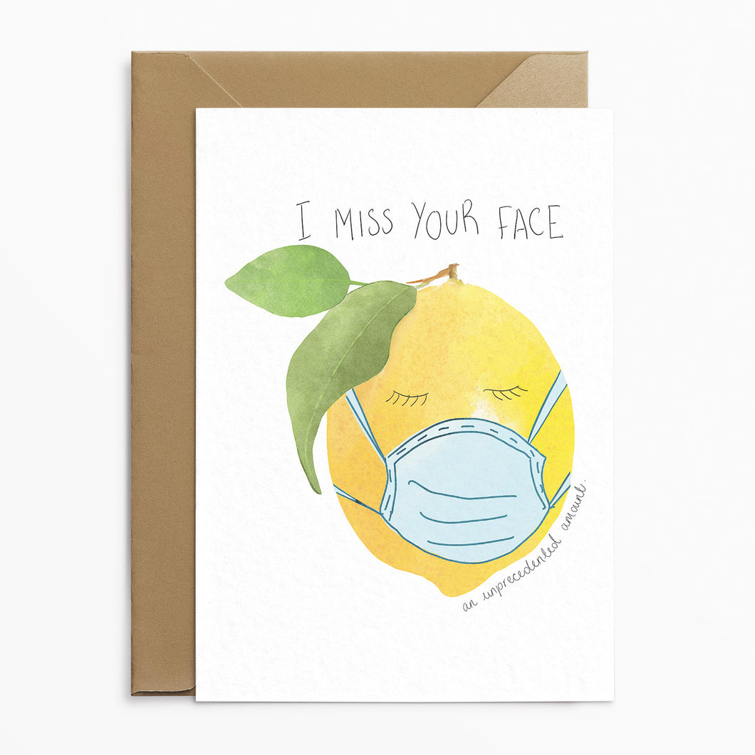 I Miss Your Face Lemon Card - Phoebe Florence x Poppins & Co.