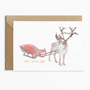 Phoebe Florence x Poppins & Co - Reindeer Lockdown Christmas Card - Poppins & Co.