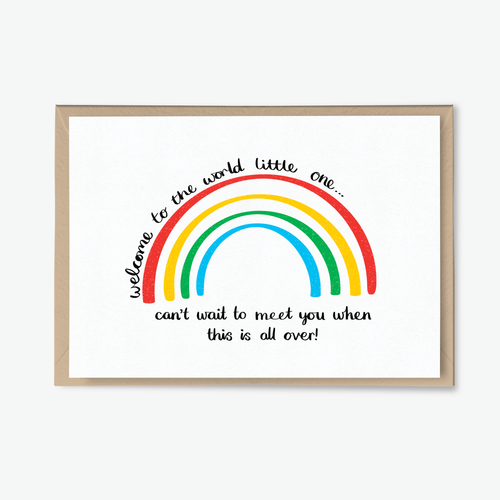 Rainbow Lockdown Baby Card - Poppins & Co.