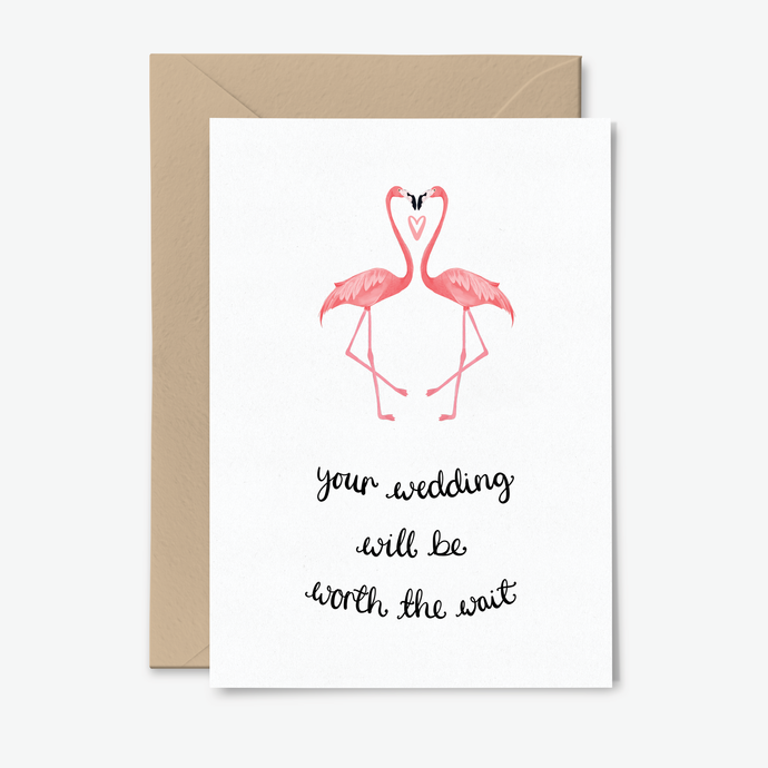 Postponed Wedding Flamingo Card - Poppins & Co.