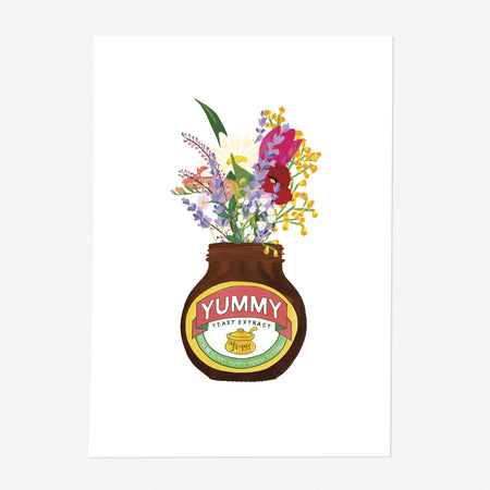 Yummy Yeast Extract Jar & Flowers Print - Poppins & Co.