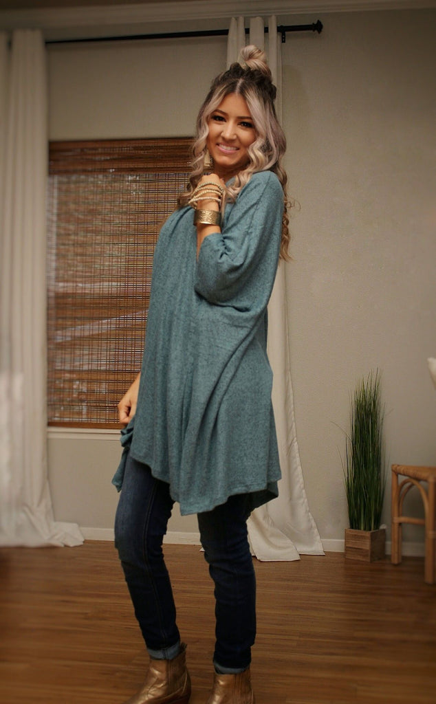 Cozy babe poncho top in dusty teal
