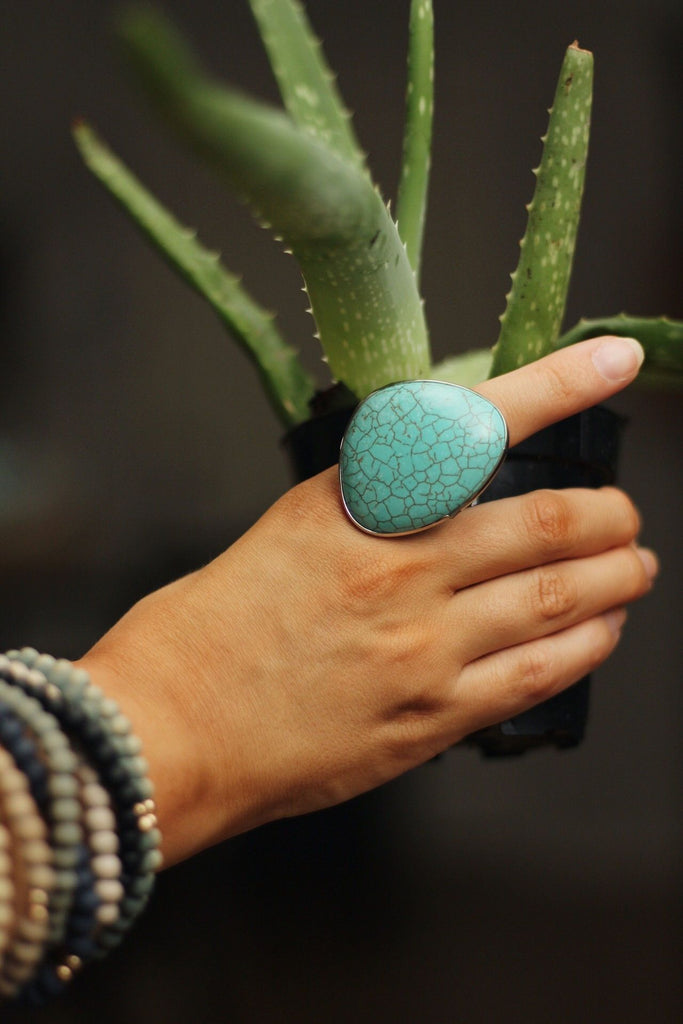 Turquoise droplet ring