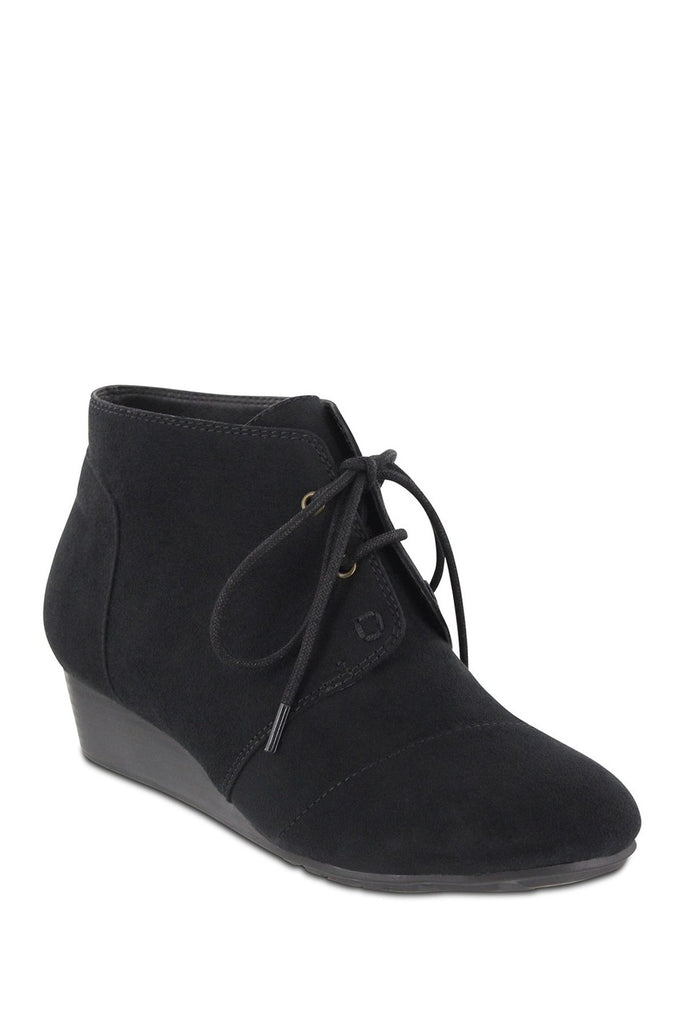 Lace Up Mia Amore Wedge Ankle Bootie