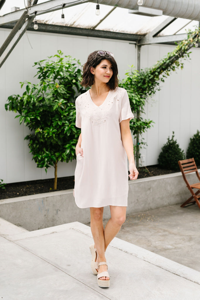 Elegantly Embroidered Shirt Dress