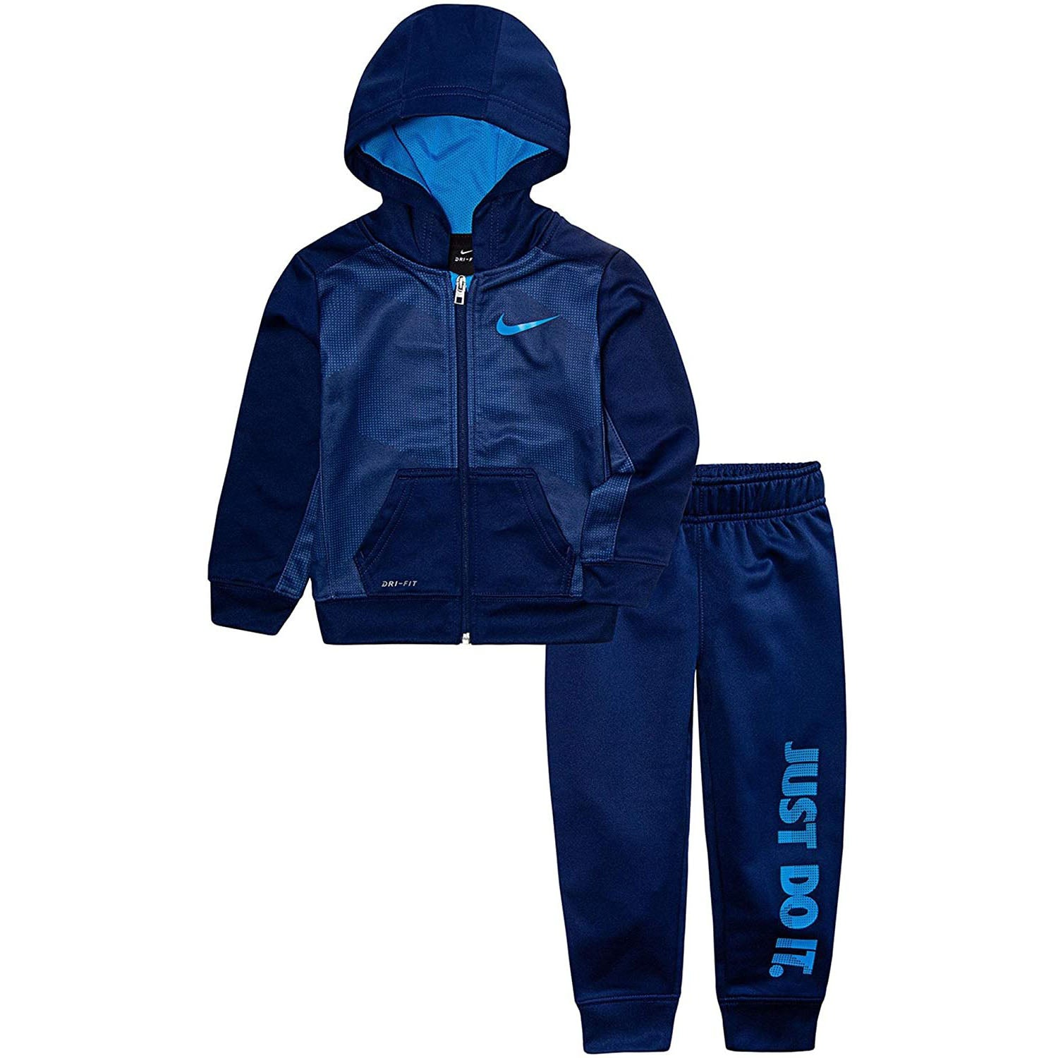 Nike Boy`s 2 Piece Therma-FIT Zip Hoodies & Pants Set (Blue Void(66D695-U9J)/Obsidian, 12 Months)