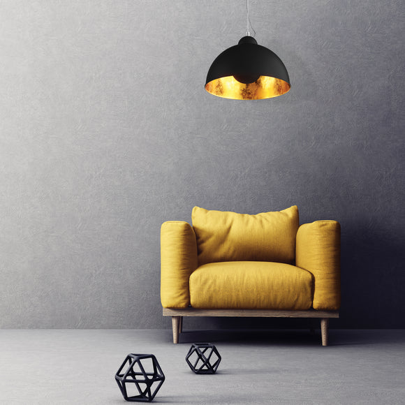 Lighting by Yuvilite. This is a lighting pendant from Zumaline, the Antenne ceiling pendant light which is black and gold inside.