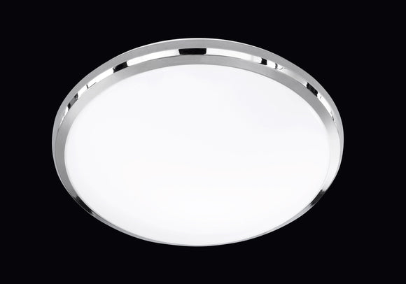 LED ROUND FLUSH CEILING LIGHT - 12W BUILT-IN SMD LED - CHROME & WHITE PLASTIC
