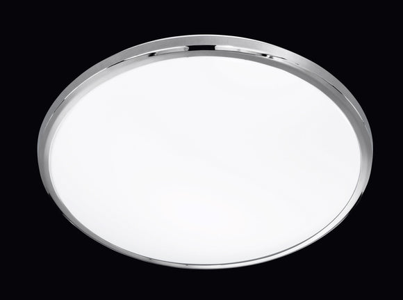 LED ROUND FLUSH CEILING LIGHT - 23W BUILT-IN SMD LED - CHROME & WHITE PLASTIC