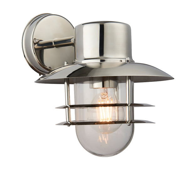 Endon Lighting 74703 Jenson 1Lt Wall Polished Stainless Steel & Clear Glass