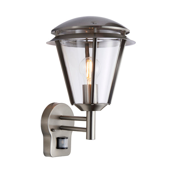 Endon Lighting 91828 Iken 1Lt Wall Brushed Stainless Steel & Clear Pc