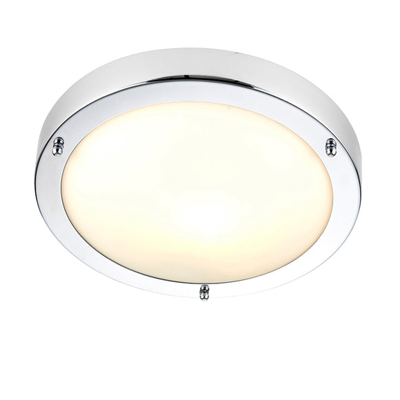 Endon Lighting 91830 Portloe 1Lt Flush Chrome Plate & Frosted Glass