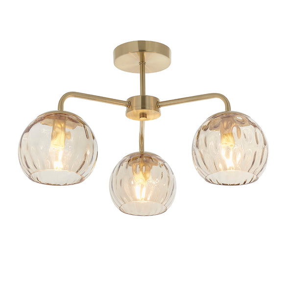 Endon Lighting 91968 Dimple 3Lt Semi Flush Satin Brass Plate & Champagne Lustre Glass