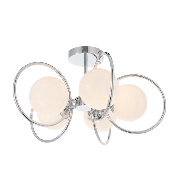 Endon Lighting 93903 Orb 5Lt Semi Flush Chrome Plate & Opal Glass
