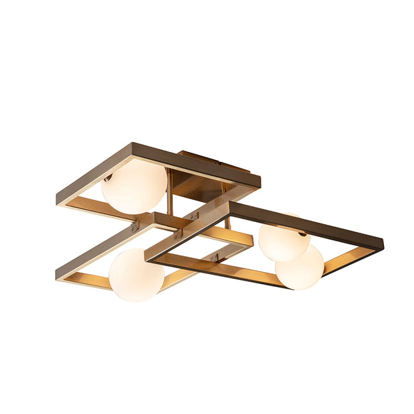 Endon Lighting 95479 Melek 4Lt Semi Flush Aged Brass Plate & Opal Glass