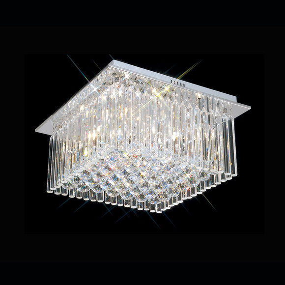 5 Light Square Crystal Flush 5 x 33W G9 Maximum