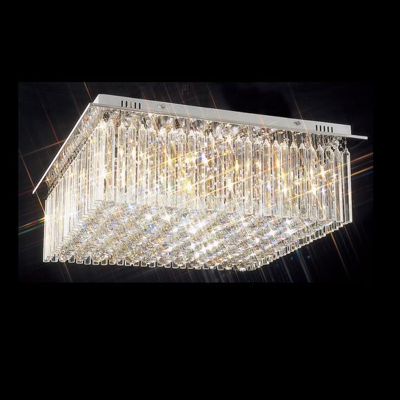 8 Light Square Crystal Flush 8 x 33W G9 Maximum