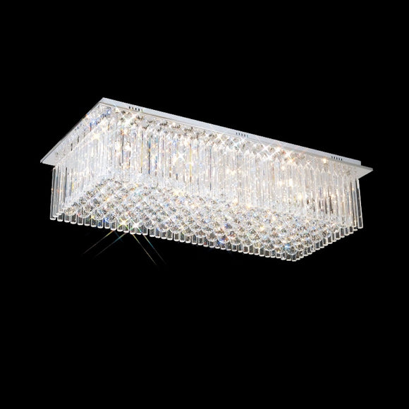 10 Light Rectangular Crystal Flush 10 x 33W G9 Maximum
