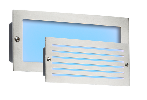 ML Accessories-BLED5SB 230V IP54 5W Blue LED Recessed Brick Light - Brushed Steel Fascia