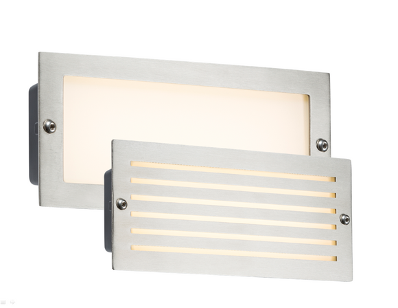 ML Accessories-BLED5SW 230V IP54 5W White LED Recessed Brick Light - Brushed Steel Fascia