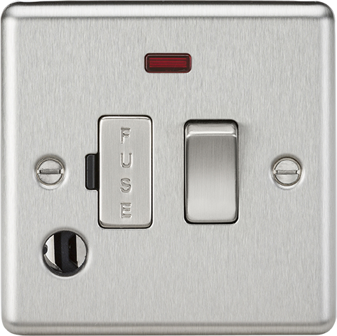 ML Accessories-CL63FBC 13A Switched Fused Spur Unit with Neon & Flex Outlet - Rounded Edge Brushed Chrome