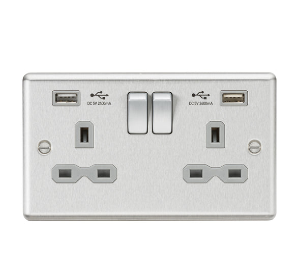 ML Accessories-CL9224BCG 13A 2G Switched Socket Dual USB Charger (2.4A) with Grey Insert - Rounded Edge Brushed Chrome