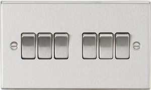 ML Accessories-CS42BC 10AX 6G 2-Way Plate Switch - Square Edge Brushed Chrome