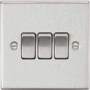 ML Accessories-CS4BC 10AX 3G 2 Way Plate Switch - Square Edge Brushed Chrome