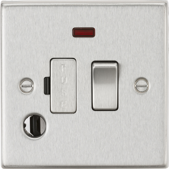 ML Accessories-CS63FBC 13A Switched Fused Spur Unit with Neon & Flex Outlet - Square Edge Brushed Chrome