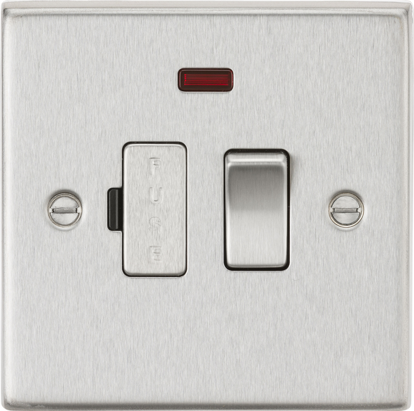 ML Accessories-CS63NBC 13A Switched Fused Spur Unit with Neon - Square Edge Brushed Chrome