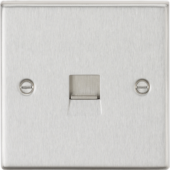 ML Accessories-CS74BC Telephone Extension Outlet - Square Edge Brushed Chrome